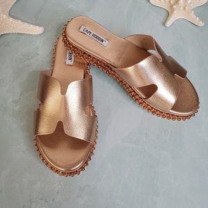 Cape Robbin Shoes - NEW Cape Robbin Rose Gold Open Toe Slide Sandal
